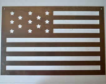 "Metal Sign - American Flag - Engraved Metal American Flag - 21""x14"""