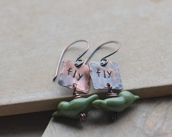 Handmade Handstamped Copper Fly Earrings with Olive Green Lampwork Glass Birds