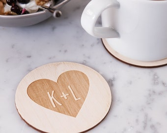 Personalised Couples Heart Coaster - Wooden Coaster - Housewarming Gift - 5th Anniversary Gift - Couples Gift - Rustic Coaster - Coaster Set
