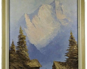 Alp Mountains Summer Landscape Vintage Austrian Oil Painting