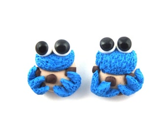 2x cookie monster earring studs