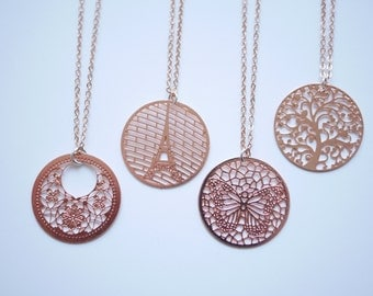 Mesh rose gold necklace