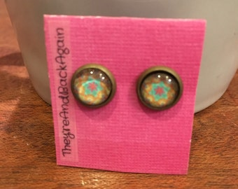 8mm Glass Pink&Orange Kaleidoscope Stud Earrings