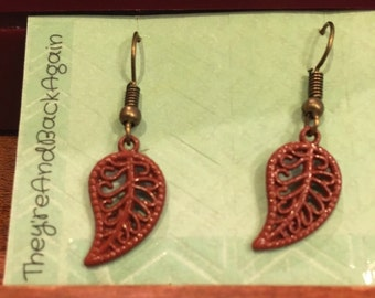 Maroon HandPainted Bronze Leaf Earrings