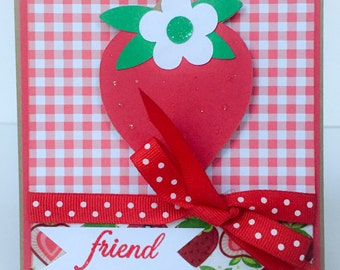 Handmade Card, Card For Friend, Strawberry, Fruit, Summer, Strawberries, Birthday Card, Hello Card, Hi, Thinking of You, Notecard