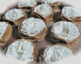 Party Decor, Burlap  and White Lace Flowers , Burlap Rosettes Wedding Decor -  Set of 10
