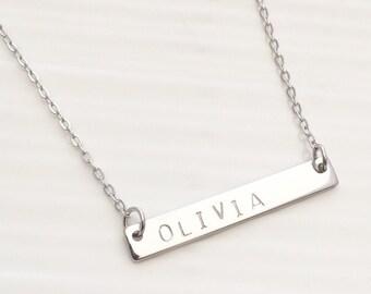 Silver custom initial bar necklace, blank silver bar necklace, layering bar necklace, personalized wedding bridal necklace  bridesmaid gift