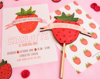 Strawberry Party Cake Topper Wood Laser Cut made to match Strawberry Birthday Party Invitation
