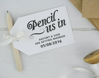 Pencil us in save the date cards in white x25