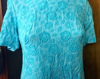 Vintage 60S Mad Men Aqua Blue Embossed Shift Dress- 60's Shift Dresses-Vintage Abstract Dress