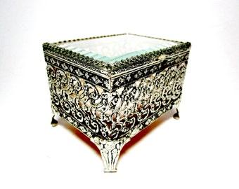 Vintage Jewelry Casket, Footed Ormolu Jewelry Box, Beveled Glass, Filigree, Velvet Interior,  Jewelry Box, Hollywood Regency