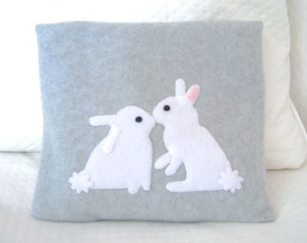 FREE SHIPPING Microwave Heating Pad Cherry Stone Filled Fleece Pillowcase with Snuggle Bunnies Appliqué