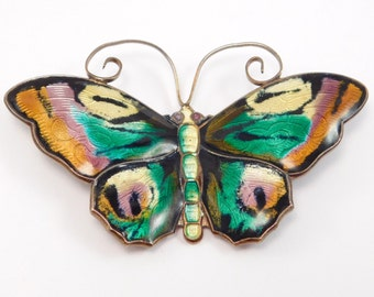 David Andersen Large Enamel Norwegian Butterfly Brooch