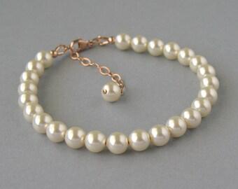 Genuine Swarovski Pearl, Rose Gold Filled, Cream Pearl Bracelet, Ivory Bracelet, Swarovski Bracelet, Bridal Jewelry, Bridesmaid Gift- DK738