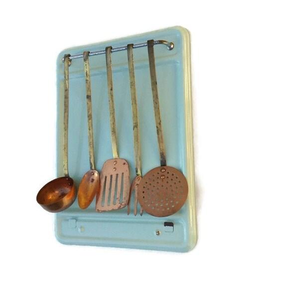 Items Similar To FRENCH Enamel Utensil Hanging Rack Copper
