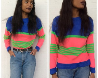 1970's periwinkle, green, pink striped sweater AS IS