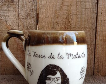 "The mug ""La tasse de la Matante"" made of handtrowned porcelain clay"