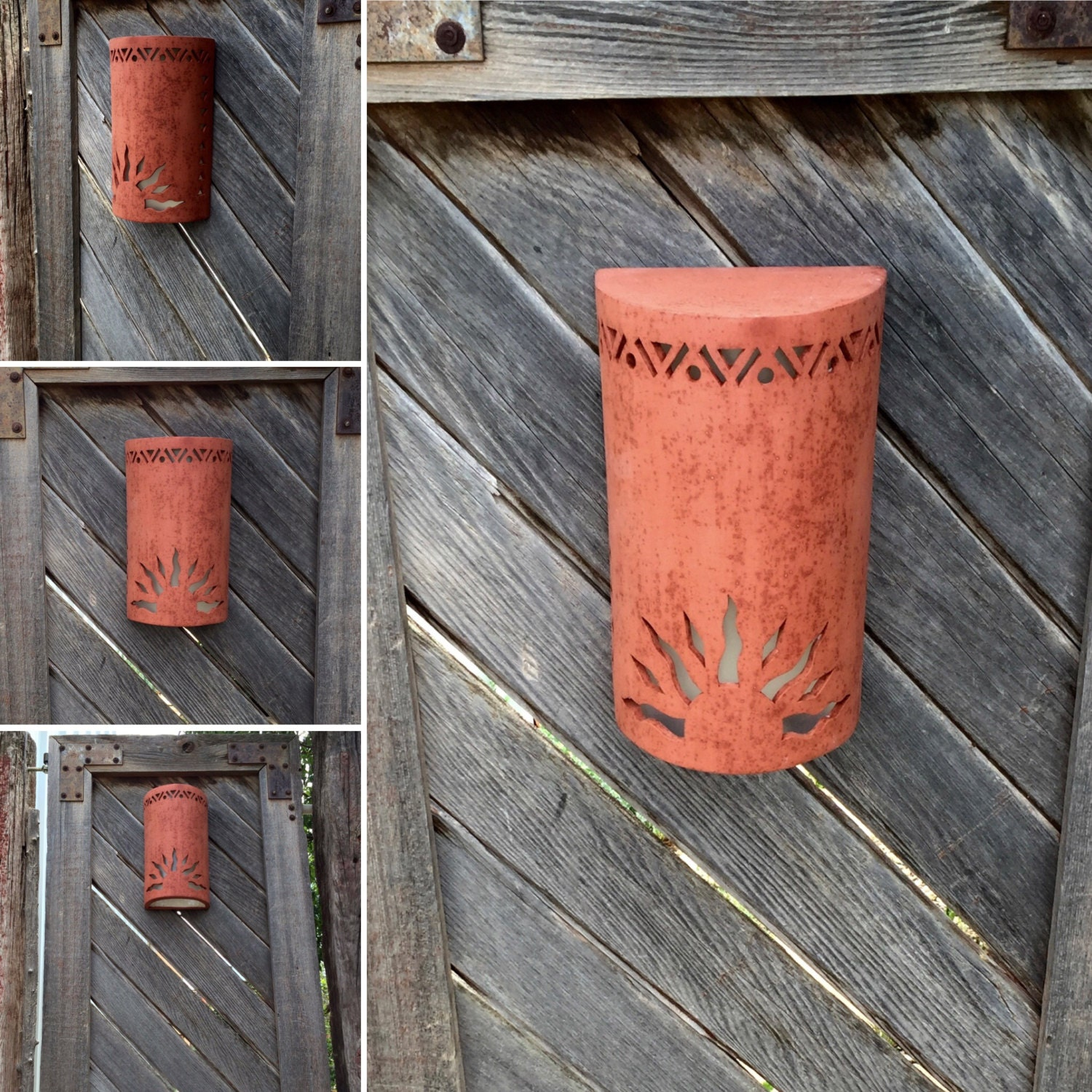 Outdoor Wall Sconce Half Sun And Details Rustic Light