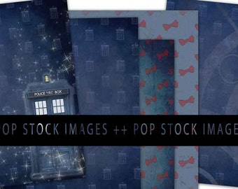DOCTOR WHO 5 Sheet Paper Pack - Digital Paper Letter Size - TARDIS - Digital Scrapbook Paper - Digital Paper - Digital Background - Dr Who