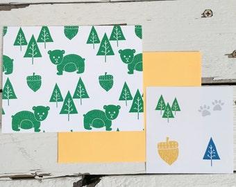 Green Acorn Bear-6pc + stickers