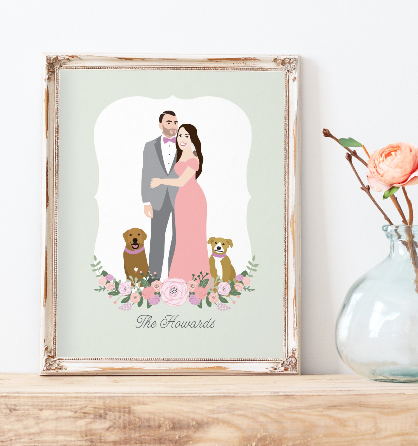 Personalised Wedding Gift Portrait : Custom couple portrait Custom Wedding Gift Personalized