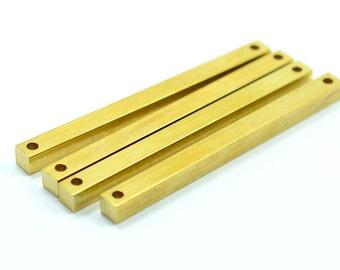 4 Pcs. Raw Brass 4x4x50 mm Rectangular Industrial Stick Bar Pendants 2 Hole Stamp Findings