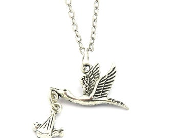 Stork with baby silver color chain