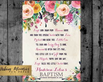 Baptism Prayer, Baptism Poem, Baptism Sign,  Baptism,  Flower, floral,Christening, Dedication ,First Communion. Girl Baptism -sfc