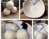 Natural Farmhouse Laundry Set:  Three Triple Felted 100% Wool Dryer Balls in a Handmade Coiled Basket