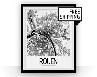 Rouen Map Poster - france Map Print - Art Deco Series