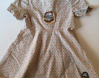 Vintage Handmade Toddler Girl Dress with Yellow and Orange Floral Print