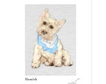 Dog art, west print, west highland art, needle felt dog