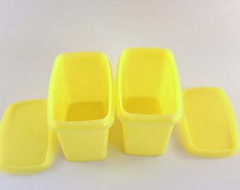 2 Yellow Tupperware Containers with Lids