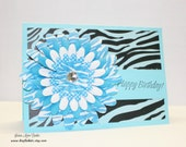 Handmade Birthday Card, Turquoise and Black Zebra Print