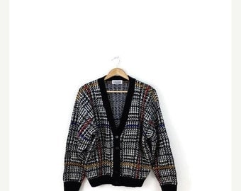 WINTER SALE Vintage Black/White Houndstooth Acrylic Sweater Cardigan from 1980's*