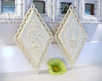 Shabby chic wall decor, ornate wall decor, homco wall plaques, shabby home decor, vintage wall hangings, cottage chic decor