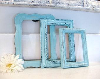 Shabby chic frames, frame collection, frame set, aqua blue frames, upcycled frames, ornate frames, picture frame, nursery decor