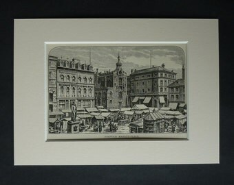1882 Antique Norwich Market Place Print, Historic Decor, Available Framed, Norfolk Art, Architecture Gift, Architectural Art, Guildhall Art