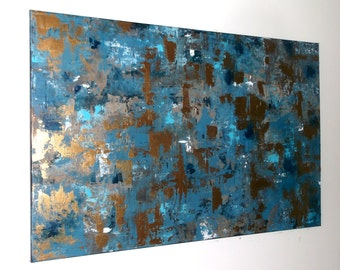 Abstract Painting, Abstract Art Wall Decor Wall Hanging, 24x36 Canvas Wall Art Glistening Modern Art Acrylic Painting