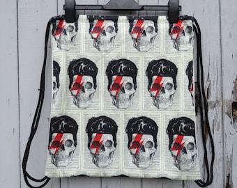 Vintage Bowie Skull Backpack - Bag Gym Handbag Vintage Aladdin Sane Alternative