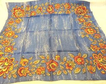 Cobalt blue floral border acetate square scarf vintage great denim accessory