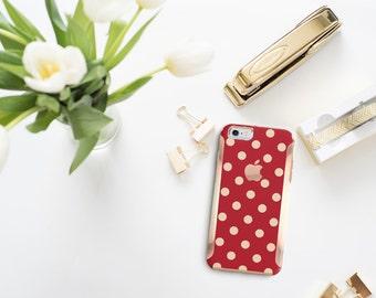 Platinum Edition Chrome Rose Gold Polka Red Hybrid Hard Case Otterbox Symmetry iPhone 6 / iPhone 7 / Galaxy S7 / S7 Edge