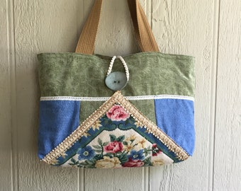 Vintage Needlepoint Purse, Large Shoulder Bag, Tapestry Bag, Carpet Bag, Hobo Bag, Shabby Chic,  Repurposed