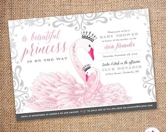 Baby Shower Invitation – Princess Swan Theme (Digital file)
