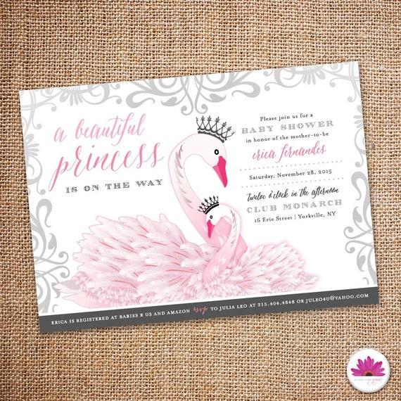 baby shower invitation princess swan theme digital file