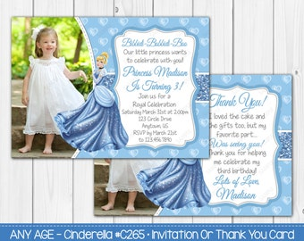 Any Age Princess Cinderella Invitation OR Thank you Card Note - Digital File