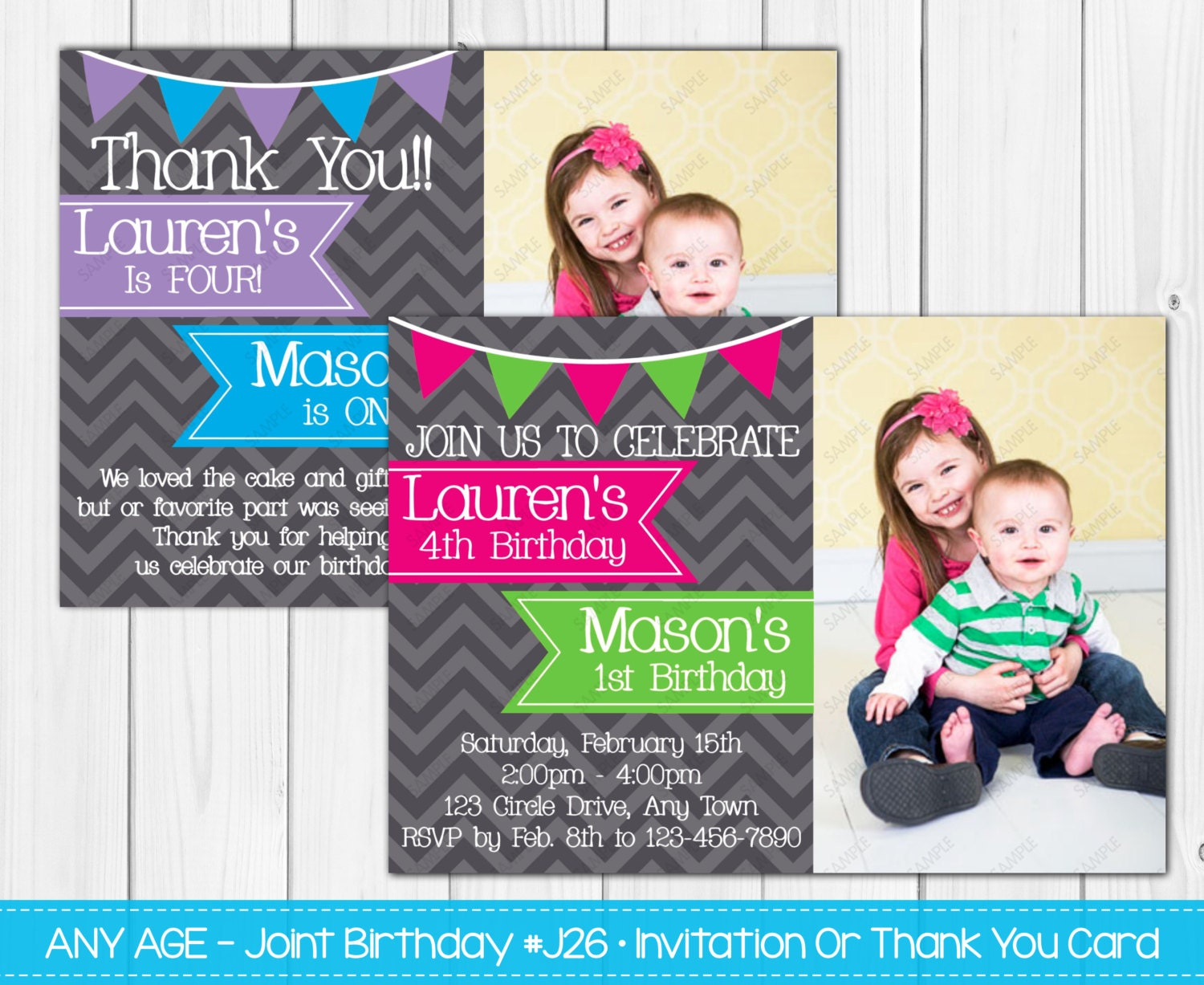SALE Joint Birthday Party Invitation Boy & Girl Girl