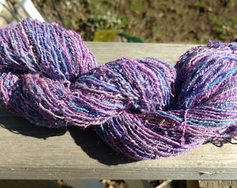 Handspun wool yarn, Romney wool and bits of firestar yarn, hand dyed, fun yarn, Oregon Pacific Northwest made