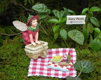 Fairy Garden Picnic Ensamble, Miniature Garden Kit, Fairy Garden  Accessories, Accessory Figurine ,