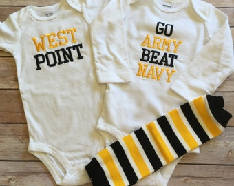 West Point Or GO Army Onesie, Bib, and Burp Cloth Set (authorized producer)